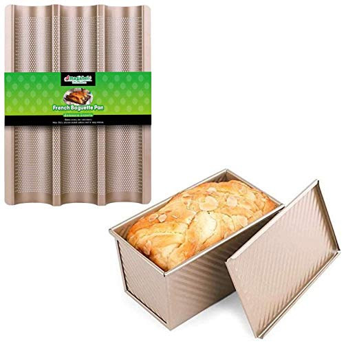 "Amagabeli Nonstick French Baguette Pans for Baking 15""x11"" Bundle Nonstick Bakeware Loaf Pan with Cover 8.4""x4.5""x4.1"""