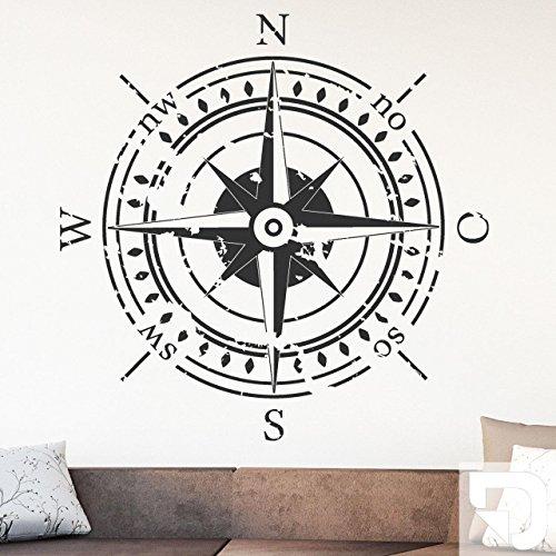 DESIGNSCAPE® Wandtattoo Himmelsrichtungen | Wandtattoo Kompass 58 x 58 cm (Breite x Höhe) weiss DW807374-S-F5