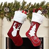 Queta 2PCS Calcetínes de Navidad, Medias de Navidad Bolsas de Regalo para Navidad, Adorno y Decoración Navideños de Hogar para Dulces y Regalos (46 * 27 * 20 cm) (Estilo B)