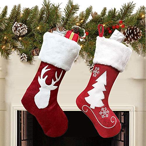 Queta 2PCS Weihnachtsstrümpfe, Weihnachtsstrümpfe Geschenktüten für Weihnachten, Weihnachtsschmuck und Dekoration für Süßigkeiten und Geschenke (46 * 27 * 20cm)