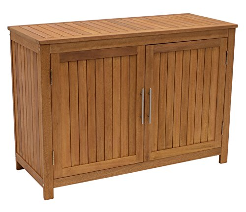 DEGAMO Holz Gartenschrank Cabinet 120x50cm mit Zwei Ebenen, Eukayltpus