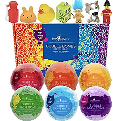 Bubble Bath Bombs for Kids with Surprise Toys Inside for Boys and Girls by Two Sisters Spa. 6 Large 99% Natural Fizzies in Gift Box. Moisturizes Dry Sensitive Skin. Releases Color, Scent, and Bubbles.