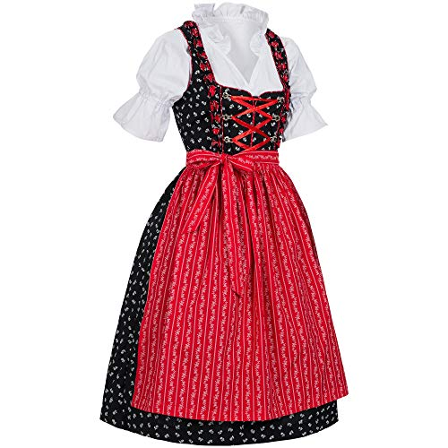 PAULGOS Dirndl Set 3 Teilig Marie, Trachtenkleid, Dirndl Bluse, passende Schürze, (40, Schwarz-Rot)