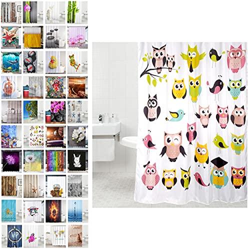 Sanilo Duschvorhang, viele schöne Duschvorhänge zur Auswahl, hochwertige Qualität, inkl. 12 Ringe, wasserdicht, Anti-Schimmel-Effekt (Owl, 180 x 180 cm)