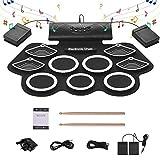 YMJJ Electronic Drum Kit Digitales Roll-Up MIDI Drum 9 Silicon Drum Pad 1000 Mah Eingebauter Stereolautsprecher Mit 2 Fußpedalen Und 7A Drumsticks Für Kinderanfänger