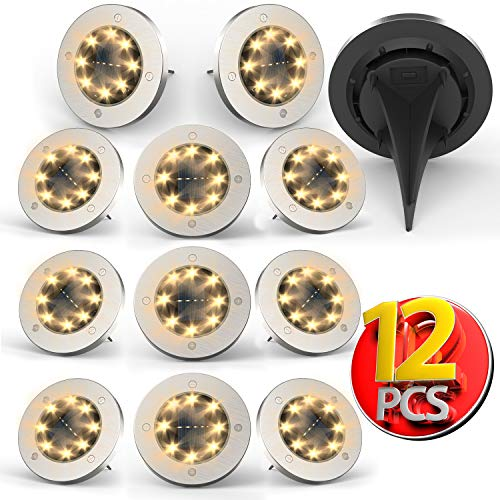 Solar Lights Outdoor,Disk Lights Solar Powered 8 LED...