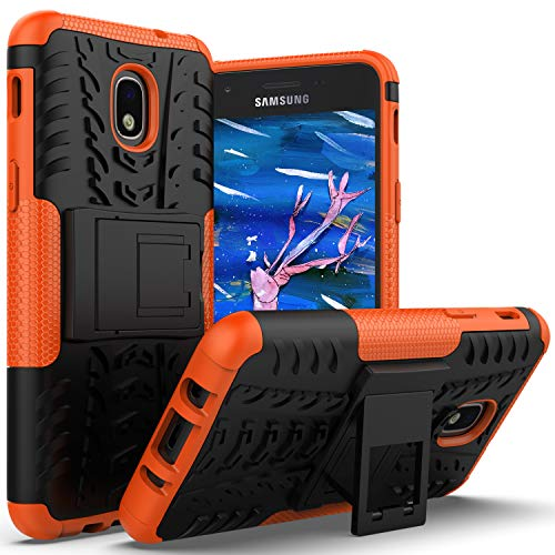 AZHEPU Galaxy J3 2018 Case,Galaxy J3 Star,J3 Orbit,J3 Achieve,Express/Amp Prime 3,J3 Aura,Sol 3 Case with Kickstand Holder, Rugged Protective Phone Cover Case for Samsung J3V J3 V 3rd Gen 2018 Orange