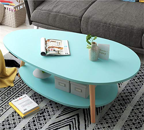 Coffee Table, Teardrop-Shaped Modern Wooden Surface Top Sofa Table for Living Room Modern Design Home Furniture with Storage Open Shelf