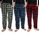 DG Hill (3 Pairs) Mens PJ Pajama Pants Bottoms Fleece Lounge Sleepwear Plaid PJs with Pockets Pants (Red, Blue & Green), Multicolor, Large: 33-35' waist