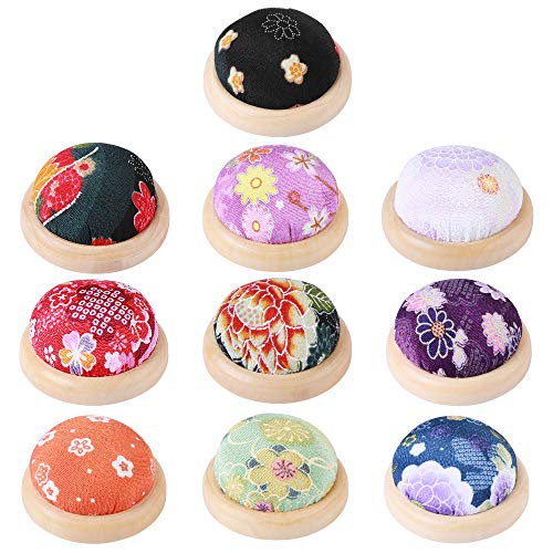 Cute Ball Shaped Needle Cushion Wooden bottom Needle Holder Pillow Sewing Pin Floral Craft Tool Insertion Storage Tools
