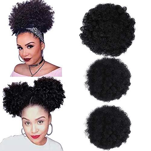 3Pack Afro Puff Kordelzug Pferdeschwanz Synthetische Afro Kinkys Lockige Afro Brötchenverlängerung Haarteile Schwarze Hochsteckfrisur Haarverlängerungen (1B #)