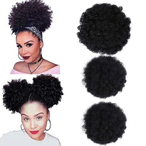 fani 3 Pcs Afro Puff Drawstring Curly Ponytail Bun Synthetic Short Kinky Curly Updo Hair Puff Clip on Ponytails Hair Extensions Hairpieces for Women (1B#)