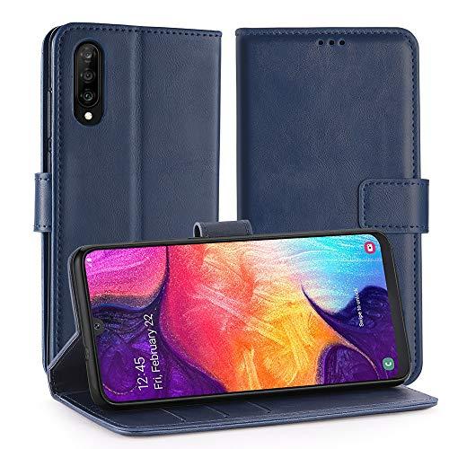 Simpeak Funda Compatible con Samsung Galaxy A50 (6.4'/2019) Cuero y Suave TPU, Funda Compatible con Samsung Galaxy A50 Carcasa Compatible con Samsung Galaxy A50 Case - Azul