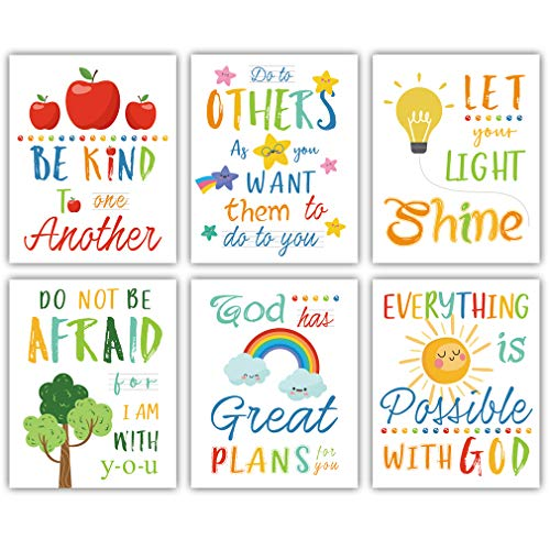 "HLNIUC Colorful Rainbow Art Print,Kids Inspirational Quote Canvas Posters Set of 6(8""X10"", Unframed),Be Kind Bible Verse Wall Art for Children' s Classroom,Sunday School Decor."
