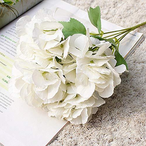 Florero de decoraci¨®n de flores artificiales, peon¨ªa artificial hortensias de seda falsas decoraci¨®n claveles de pl¨¢stico arreglos florales ramo de boda flores de seda centros de mesa-Blanco