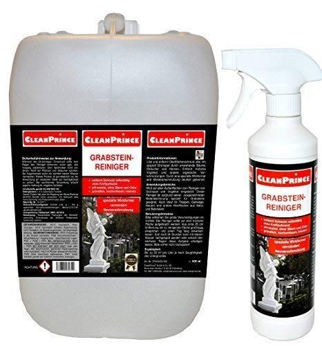 CleanPrince Limpiador de lápidas Limpiador de piedra de tumba 2.500 ml 2,5 Litros Anti Musgo Eliminador Algas Ex Piedra natural Excrementos de pájaros Agente Limpiador Limpieza Cardenillo