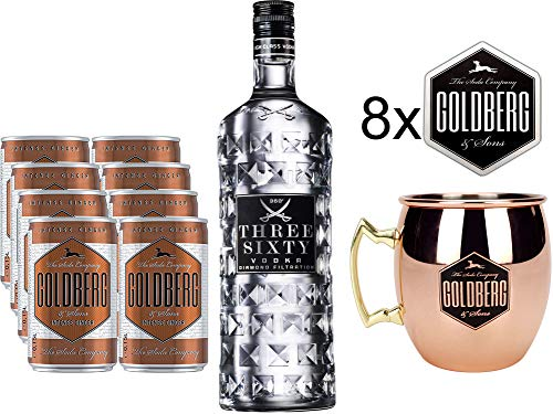 Moscow Mule Set - Three Sixty Vodka 0,7l 700ml (37,5% Vol) + 2x Mule Becher + 8x Goldberg Intense Ginger je 0,15l = 1,2l inkl. Pfand EINWEG + 8x Goldberg Untersetzer mit Rezept- [Enthält Sulfite]