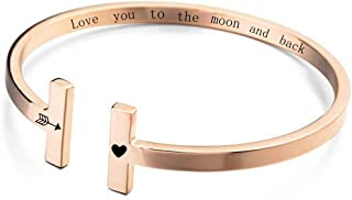 MANZHEN Custom Inspiration Cuff Bangle Encouragement Engraved Polished Stainless Personalized Birthday Gift