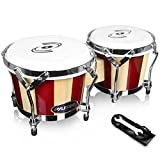 Pyle Hand Crafted Bongo Drums - Pair of Wooden Bongo Drums,...