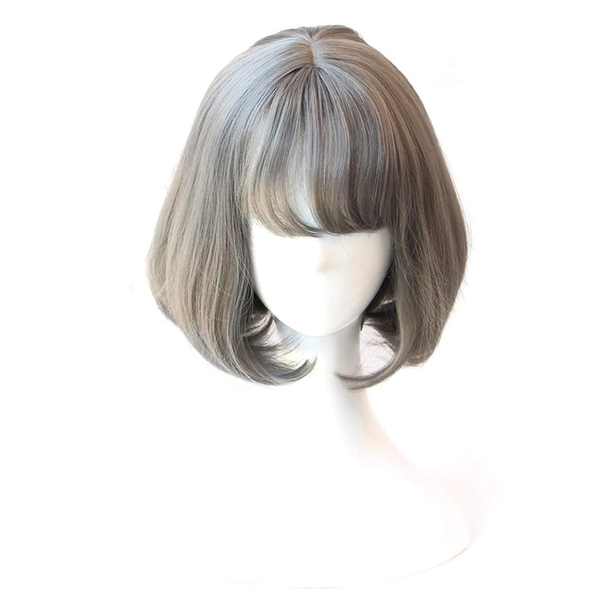 リテラシー増加する静かなKoloeplf コスウィッグエアバンズショートヘアボボーパワーヘッドおばあちゃんアシュバックルヘアカール (Color : Grandma ash)