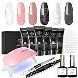 Poly Nail Gel Kit 6 Colors - Nude Grey Poly Kit with Lamp Poly Nail Extension Gel Kit for Starter Modelones All In One Poly Kit Nail Art Design Nail Manicure Poly Polish Kit DIY at Home