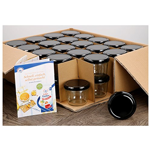 MamboCat 40er Set Sturzgläser 230 ml mit schwarzem Deckel to 82 inkl. Diamant Gelierzauber Rezeptheft Marmeladengläser Einmachgläser Einweckgläser