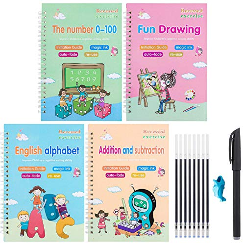 Magic Practice Copybook for Kids | The Print Handwiriting Workbook | Reusable Writing Practice Book for Preshcool and Kindergarten(4PCS, Large Size)
