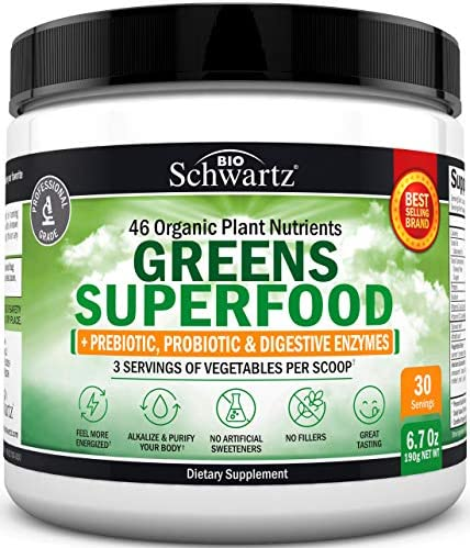 Super Greens Powder Dr Approved Formula with 45 Organic Green Superfoods Alfalfa Bilberry Spirulina product image