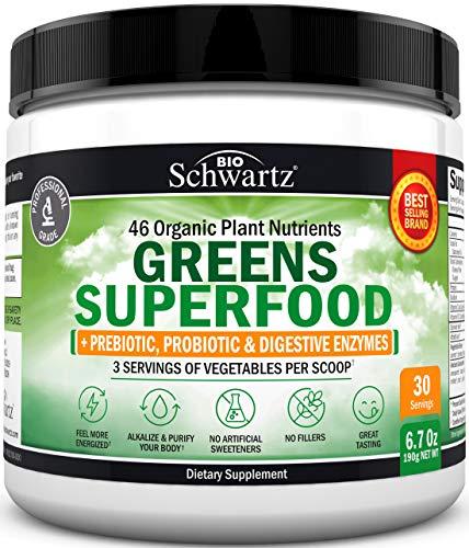 Chlorophyll Rich Super Greens Powder - 43+ Organic Green Superfoods - Alfalfa, Bilberry, Spirulina, Chlorella & More - Dr....