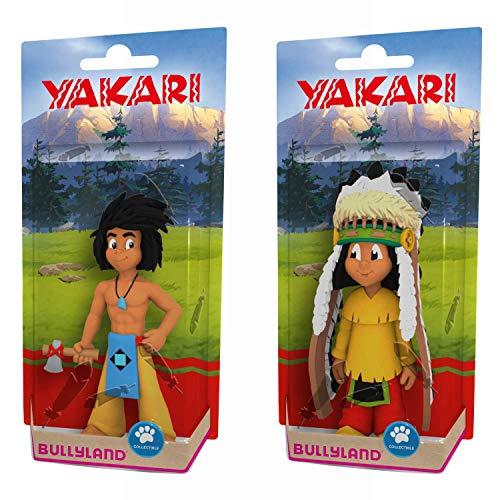 B BULLYLAND Yakari 43363 Kleiner Dachs mit Beil + 43364 Yakari mit Federschmuck Spielfiguren 2er Set