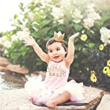 Baby Birthday Crown Headband, Elastic Gold Glitter Mini Birthday Crown First Birthday Hat Cake Smash Photo Prop - Party Hats for Adults Women Girls Princess Cosplay Costumes (1 Crown+10PCS Balloons)