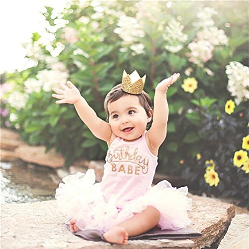 Baby Birthday Crown Headband, Elastic Gold Glitter Mini Birthday Crown First Birthday Hat Cake Smash Photo Prop - Party Hats for Adults Women Girls Princess Cosplay Costumes (1 Crown?10PCS Balloons)