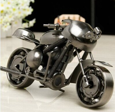 SwirlColor Iron Motorcycle Model Creative Motorcycle Modern Ornaments Photography Props, Best Present for Boyfriend(type1)