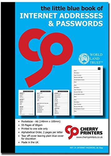 Mała czerwona/niebieska książka adresów internetowych i haseł A6 105 mm x 148 mm (niebieski)