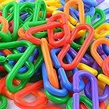 100 Piece Plastic C-Clips Hooks Chain Links C-Links Rat Parrot Bird Toy Cage