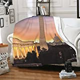 New Dawn Over Washington DC Flannel Throw Blanket Lightweight Cozy Plush Blanket for Bedroom Living Rooms Sofa Couch 80x60