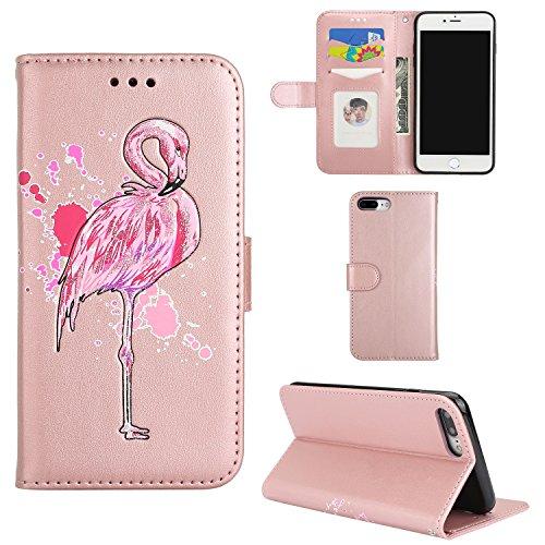 iPhone 7 Plus hoesje, iPhone 8 Plus Cover, Bspring PU lederen portemonnee portemonnee portemonnee portemonnee portemonnee beschermende cover stand Flip Book Case voor Apple iPhone 7 Plus / 8 Plus met magnetische sluiting kaartsleuven reliëf glitter Bling Flamingo ontwerp, roze