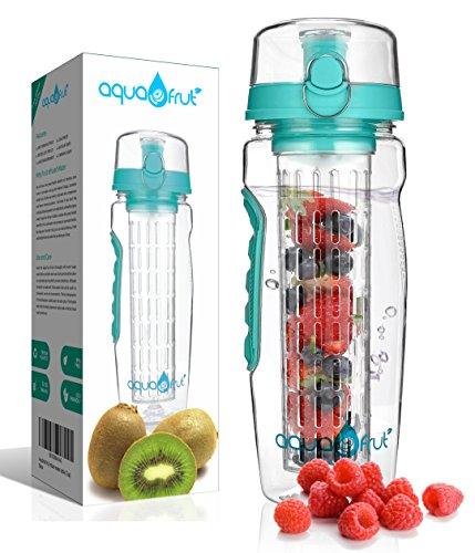 AquaFrut 32 OZ Fruit Infuser Water Bottle BPA-Free Fruit Infusion Sports Bottle - Flip Top Lid w Drinking Spout, Leak Proof, Made of Durable Tritan. Free Recipe eBook! (Teal)