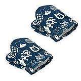 鍋つかみ キッチンミトン 耐熱手袋 オーブンミトン 綿製 柔軟 調理用手袋 バーベキュー用 2個セット (ブルー)