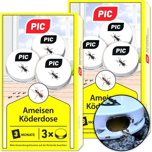 PIC - Ameisenköder Dose - Ameisenköder für Innen, Terrasse, Balkon und Keller - Bekämpft das ganze Ameisennest (6 Dosen)