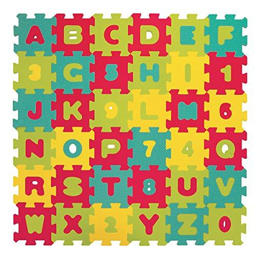 LUDI – Tapis de sol Lettres et chiffres, dès 10 mois. Puzzle géant. Lot de 36 dalles en mousse épaisses multicolores. Aide pour apprendre à lire et à compter - 1006
