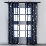 Kotile Star Sheer Curtains for Kids Room - Metallic Gold Foil Stars Moon Printed Navy Blue Sheer Curtains 84 Inch Long Grommet Top Light Filtering Privacy Drapes, 52 x 84 Inch, 2 Panels, Navy