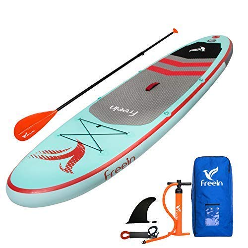 "Freein Stand Up Inflatable Paddleboard - SUP 10' Long, 33"" Wide, 6"" Thick - Floating Paddle, Backpack, Leash, Pump (Renewed)"