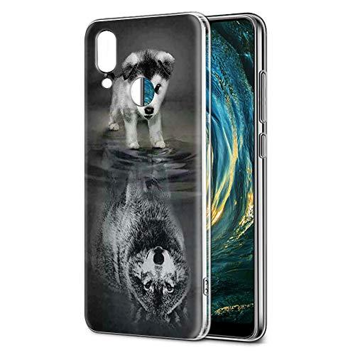 Pnakqil Funda Huawei P20 Lite, Silicona Transparente con Dibujos Diseño Slim Suave TPU Antigolpes Ultrafina de Protector Piel Case Cover Cárcasa Fundas para Huawei P20Lite, Lobo Perro