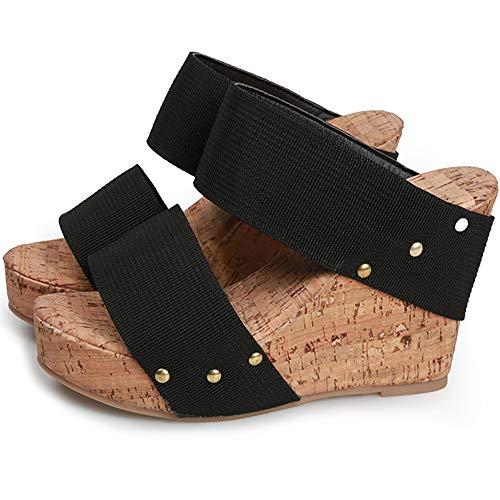 ORQ - Sandalias de tacón de cuña para mujer, estilo informal