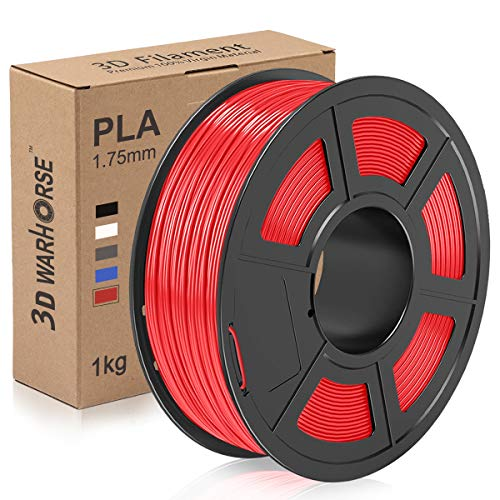 PLA Filament, 1.75mm 3D Printer Filament, Upgrade 2020 PLA 3D Printing 1KG Spool, Dimensional Accuracy + - 0.02mm, Red