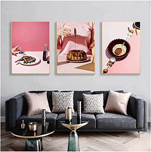 XYYCZ Lienzo de Arte Moderno Estilo Rosa Gourmet Carteles de impresión de Galleta glaseado Pastel Comedor decoración nórdica para el hogar 3 Piezas 40x60cm sin Marco