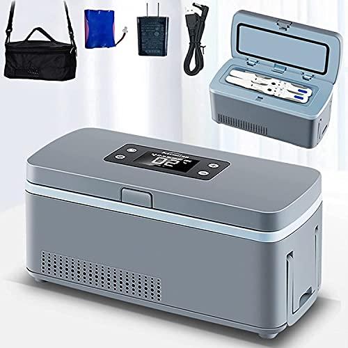 XFYLPA USB Caja de Viaje Enfriador de insulina, Mini Medicina Refrigerador Caja de Enfriador portátil, diseño de Mango Plegable, 2-18 ° C Ajustable, Métodos de Carga múltiples