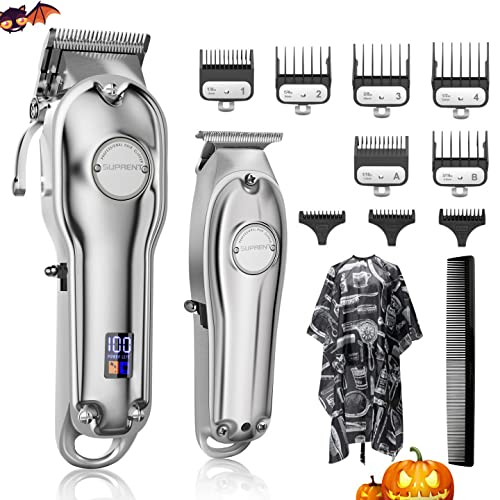 SUPRENT Hair Clippers for Men, Cordless Hair Cutting Kit & T-Blade Trimmer Kit, Professional Barber Kit with LED Display For Family