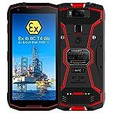 Smartphone Robusto, S12 Pro ATEX Zona 1/2 Intrinsecamente sicuro 4G Dual SIM IP68 a Prova di esplosione, Walkie Talkie DMR/PoC, Batteria 8000mAh,6GB + 128 GB, Face ID, NFC, GPS, Bussola (Red, POC)